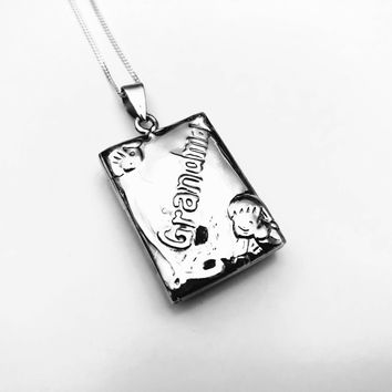 Grandma Locket, Sterling Silver Locket, Book Locket, Grandma Necklace, Gifts for Grandma, Gifts for Her