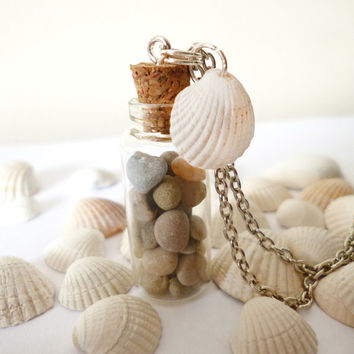 Glass bottle necklace real pebbles and seashell, Summer Memories, miniature bottle jewelry by The Neverland