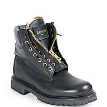 Balmain - Taiga Leather Lace-Up Boots - Saks Fifth Avenue Mobile