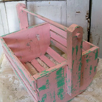 Vintage shabby chic large handmade wooden pink basket chippy painted farmhouse decor Anita Spero