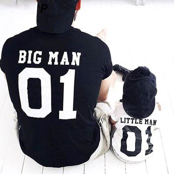 Letter Print Father Son Matching Shirts