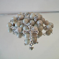 Handmade Gray Glass Rosary Religious Collectible Catholic Gifts