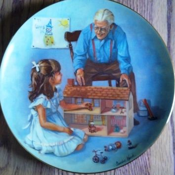 "Sandra Kuck Collector Plate ""Grandpa and the Doll House"" RECO Collection 1981"
