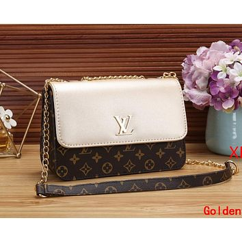 LV Louis Vuitton Newest Popular Women Shopping Bag Leather Metal Chain Shoulder Bag Crossbody Satchel Golden