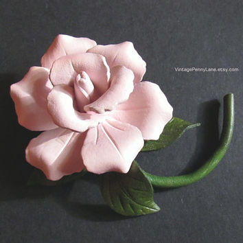 Vintage Hand Tooled Leather Brooch, Handmade Rose Flower Pin