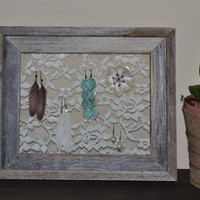 Framed Lace Jewelry Display - Soft Ivory