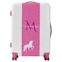 Trendy unicorn in white on pink glitter and name luggage