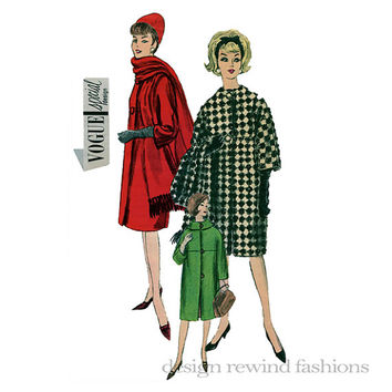 1960s Barrel Shaped Coat w/ Rolled Collar, Long or Elbow Length Sleeves & Scarf Bust 31 Vogue 5666 Special Design Vintage Sewing Patterns