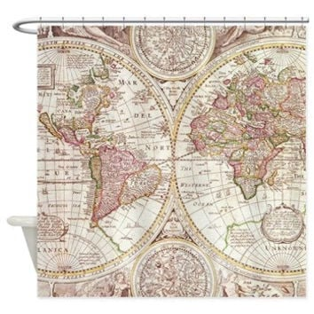 Map Shower Curtain -  Antique map - travel Decor - historical Bathroom - world maps