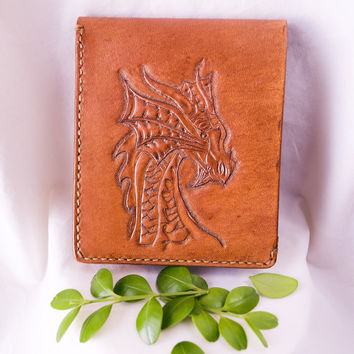 Genuine leather bi-fold wallet with hand tooled dragon design. / leather bag / handbag / leather clutch / leather wallet /