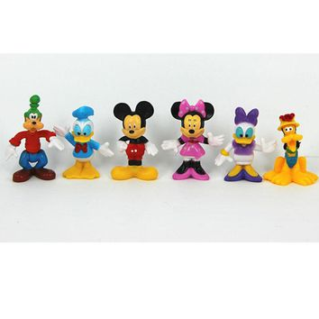 6pcs/lot Cartoon Animals mouse Mickey Minnie dolls Action figures plastic Toys Cake decoration figures gifts