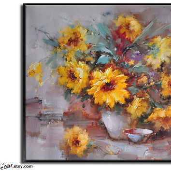 Original Oil Painting, Flower Painting, Large Abstract Art, Still Life Canvas Art Handmade Painting.