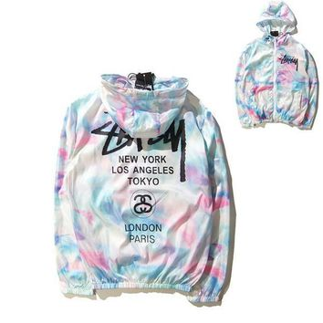 Tide brand world tour ice cream sunscreen jacket and tie dye color gradient thin coat trendsetter Collar type: cap Color: figure color Size