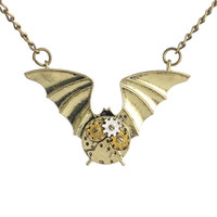 Steampunk Gear Bat Necklace