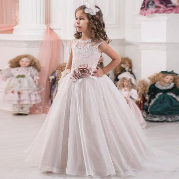 Elegant and Classy Lace Up Flower Girl First Communion Dress Sleeveless Flower Decor Sash Kid Tulle Ball Gown 2-12 Year Old