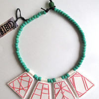 Embroidered jewelry geometric necklace hot pink pendants with mint green Native American trade beads with green Ghanian bead toggle