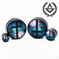 "Cross in Space Plugs Tunnels 1/2"" inch 13mm"