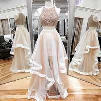 Two Piece Beaded Floor Length Prom Dress  I190