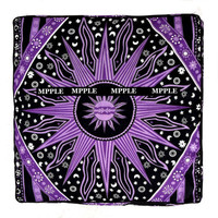 Home Decoration  handmade Blue Sun Mandala Square Floor Pouf Cushion Cover