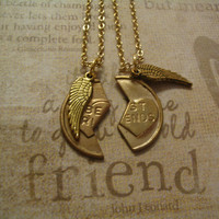 BFF Best Friend Charm Angel Wing Necklaces Friendship  Jewelry sm