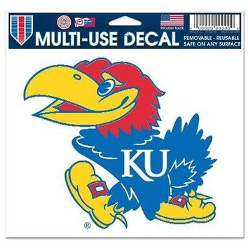 "Licensed Kansas Jayhawks NCAA 4.5"" x 6"" Car Window Cling Decal KU Wincraft 215116 KO_19_1"