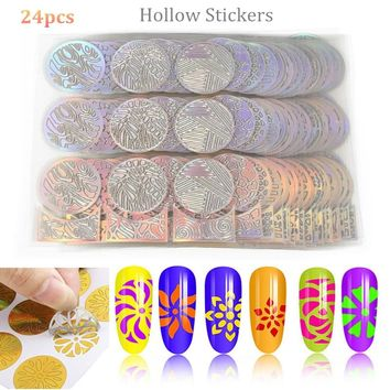 ELECOOL New 24Pcs 3D Round Hollow Stickers Nail Art Decals Template Design Fashion Stencil Reusable Manicure Nail Art Template