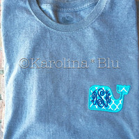 Monogrammed whale tshirt with initials in the color of your choice