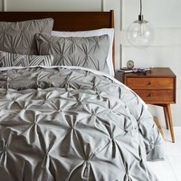 Organic Cotton Pintuck Duvet Cover + Shams - Feather Gray