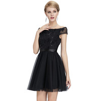 Sexy Black Cocktail Dresses 2016 New Mini Formal Prom Party Gown Homecoming Dress Vestido Cortos Off The Shoulder Cocktail Dress