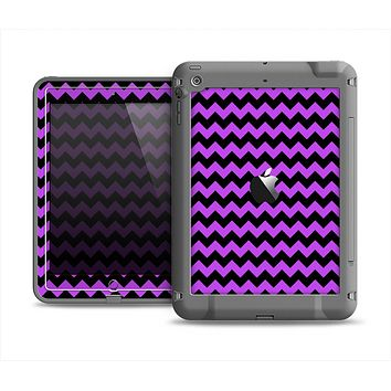 The Black & Purple Chevron Pattern Apple iPad Mini LifeProof Fre Case Skin Set