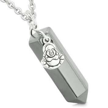 Happy Laughing Buddha Magic Powers Amulet Crystal Point Pendant Hematite 22 inch Necklace
