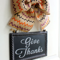 Christmas Wreath Alternative - Metal Hanging Sign CHALKBOARD Holiday Burlap Bow Decor -  Write your own message - Happy Holidays Decoration