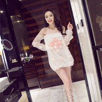 White Floral Patch Off-Shoulder Sleeve Chiffon Dress