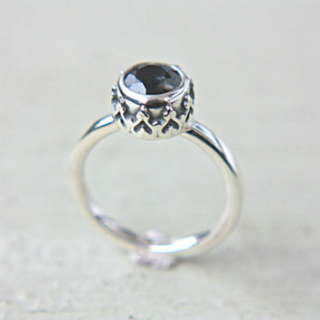 Spinel Ring Sterling Silver Queen Margot Titanium Natural Spinel Ring Gemstone Engagement Ring Size 7,25 Silversmithed Metalsmithed
