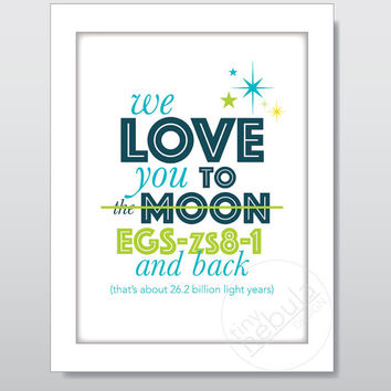 8x10 Space Nursery Art: Love you to the moon and back (but further); space nursery; printable; typography for babies; boy or girl room decor