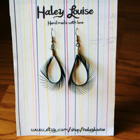 Earings Black Feather Spike Roster Tail Two Soft by HaleyLouise