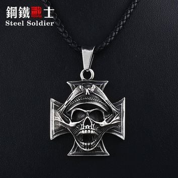 Steel soldier Vampire  Dictator Skeleton Skull Stainless Steel Cross Pendant Necklace Men Punk biker chain Jewelry
