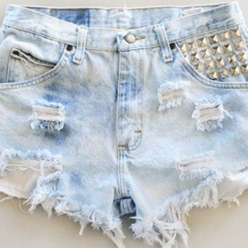 High Waist Distressed Denim Shorts