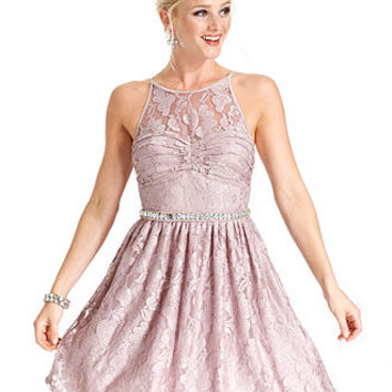 City Studios Juniors Dress, Sleeveless Lace Rhinestone A-Line - Juniors Dresses - Macy's