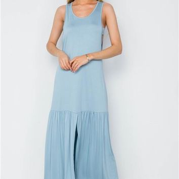 Shirred Hem Maxi Dress | Blue