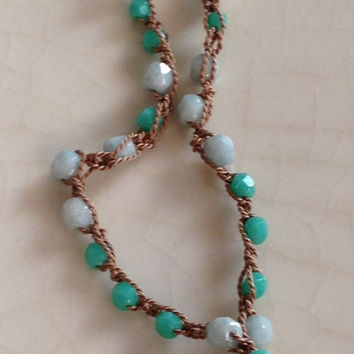 Sea Shell Crocheted Artisan Necklace Teal Green Turquoise Glass Beads Beige Silk Thread Handmade Clay Shell Pendant