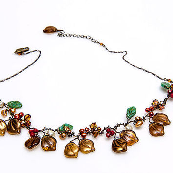 Brown Beaded Necklace, Brown Leaf Necklace, Brown Nature Jewelry, Brown Leaf Vine Necklace