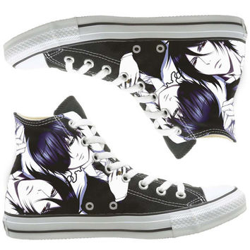 Black Butler custom painted shoes, custom shoes by natalshoes