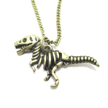 T Rex Dinosaur Skeleton Fossil Animal Bones Pendant Necklace in Brass