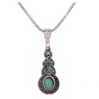 Warp Design Blue Crystal & Round Turquoise Pendant Chain Tibetan Silver Necklace cheapness = 1946719236