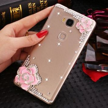 07 Luxury 3D flower bling Crystal diamond Mobile phone Shell Back Cover soft Case For ZTE Blade v7 Lite