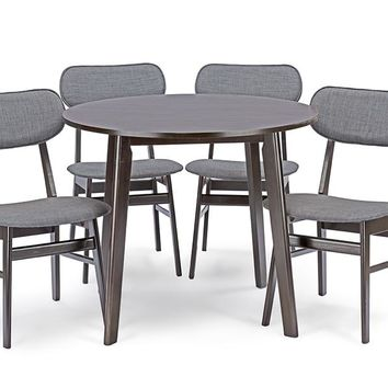 Baxton Studio Debbie Mid-Century Dark Brown Wood 5PC Dining Set Set of 1