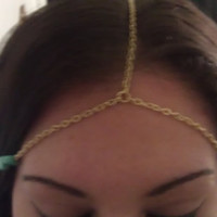 Bohemian Gold Chain Headdress with Side by allthingswildandfree