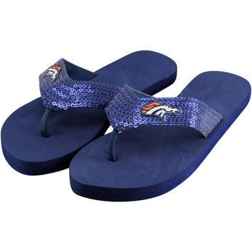 Denver Broncos Ladies Team Color Sequin Flip Flops - Royal Blue