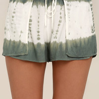 Let's Explore Sage Green Tie-Dye Shorts